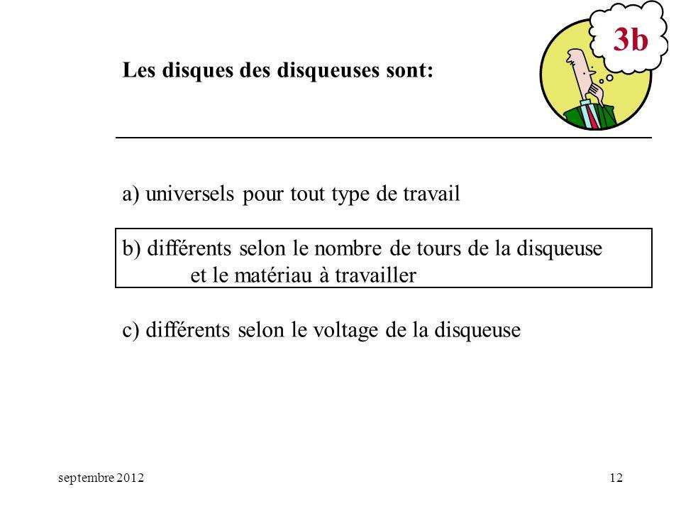 septembre 201212 a) universels pour tout type de travail b) différents selon le nombre de tours de la disqueuse et le matériau à travailler c) différe
