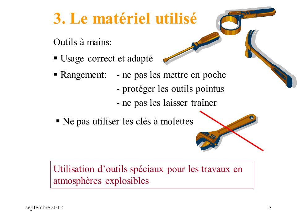 septembre 20123 3. Le matériel utilisé Outils à mains: Rangement: Usage correct et adapté Ne pas utiliser les clés à molettes Utilisation doutils spéc
