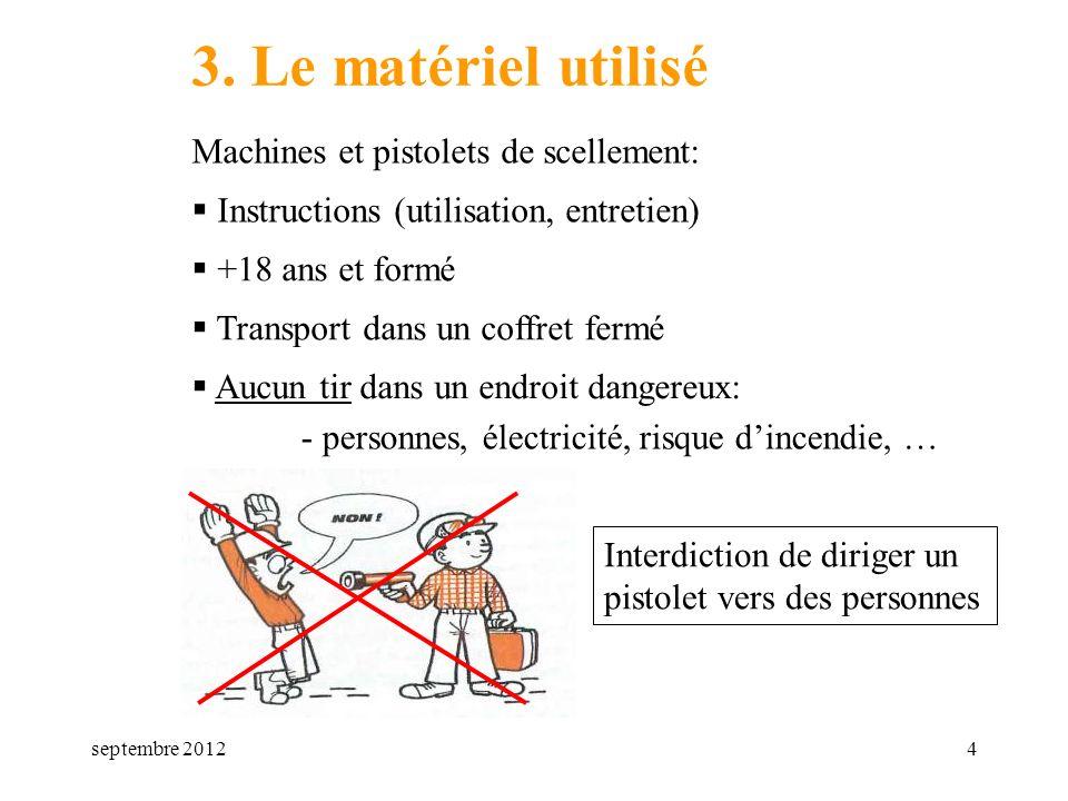 septembre 20124 3. Le matériel utilisé Machines et pistolets de scellement: Transport dans un coffret fermé Instructions (utilisation, entretien) Aucu
