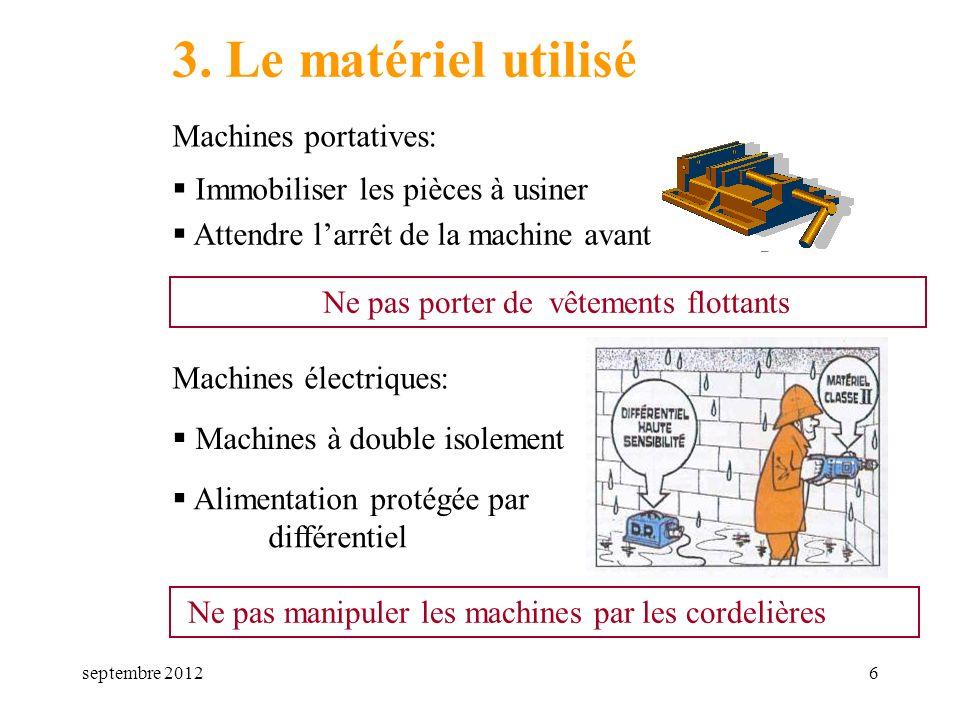 septembre 20126 3. Le matériel utilisé Machines portatives: Immobiliser les pièces à usiner Ne pas porter de vêtements flottants Attendre larrêt de la