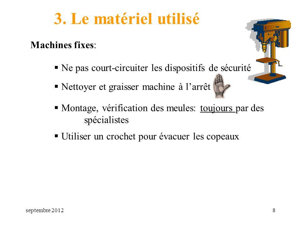 septembre 20128 3. Le matériel utilisé Machines fixes: Nettoyer et graisser machine à larrêt Montage, vérification des meules: toujours par des spécia