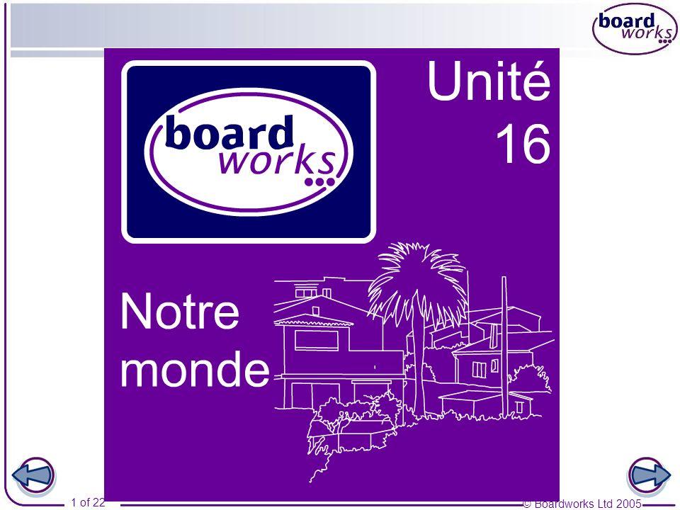 © Boardworks Ltd 2005 2 of 22 Notre monde Part 3 Ma ville Negatives other than ne … pas Table des matières