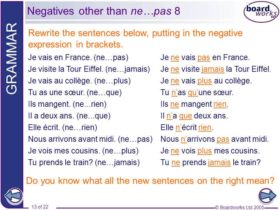 © Boardworks Ltd 2005 13 of 22 GRAMMAR Rewrite the sentences below, putting in the negative expression in brackets.