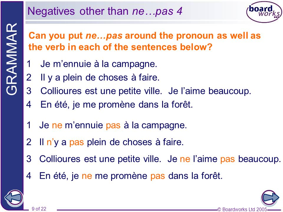 © Boardworks Ltd 2005 9 of 22 GRAMMAR Can you put ne…pas around the pronoun as well as the verb in each of the sentences below.