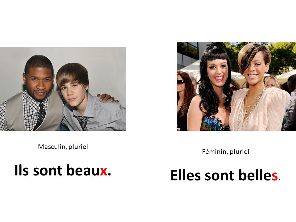 Masculin, pluriel Ils sont beaux. Féminin, pluriel Elles sont belles.