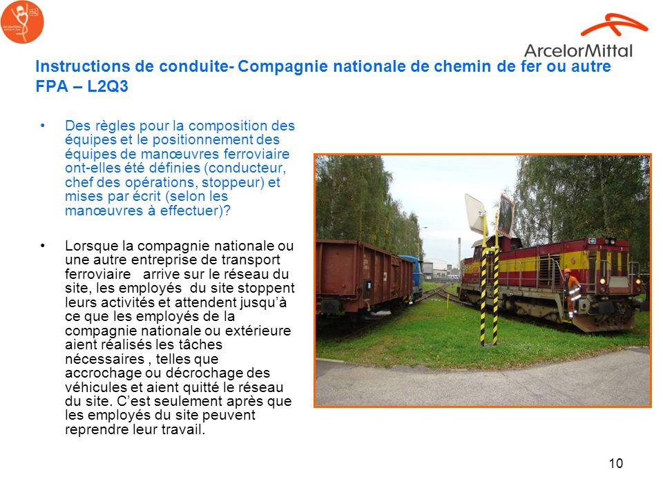 10 Instructions de conduite- Compagnie nationale de chemin de fer ou autre FPA – L2Q3 Des règles pour la composition des équipes et le positionnement