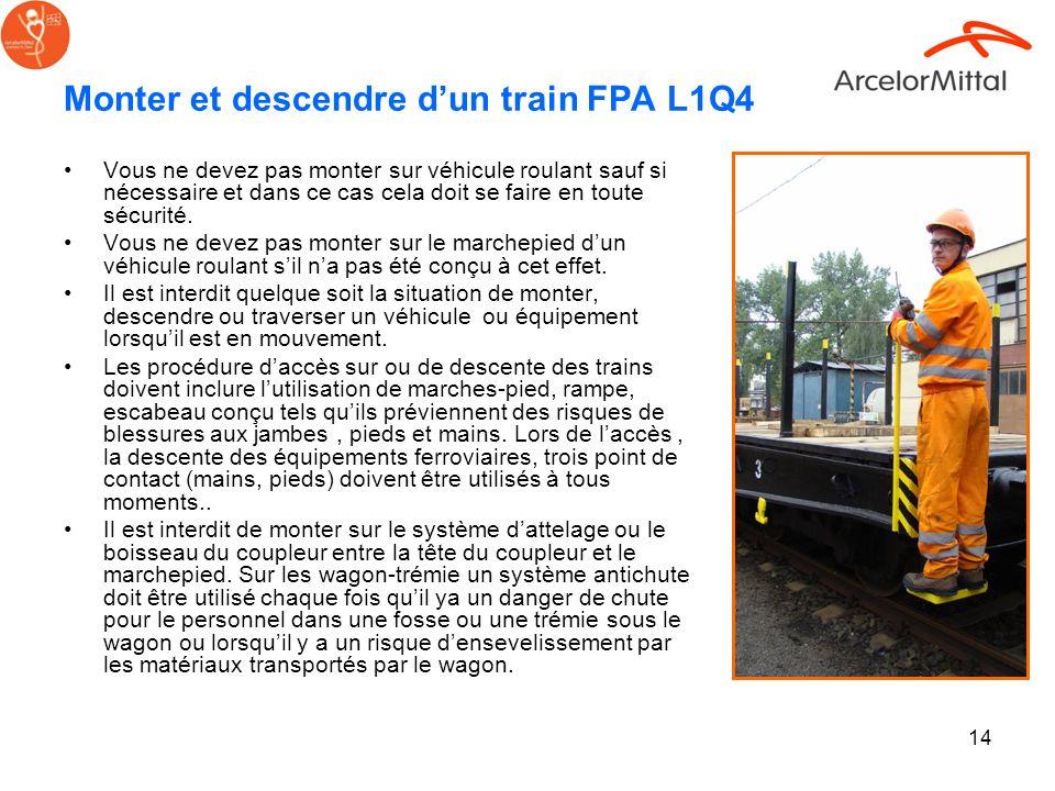 14 Monter et descendre dun train FPA L1Q4 Vous ne devez pas monter sur véhicule roulant sauf si nécessaire et dans ce cas cela doit se faire en toute