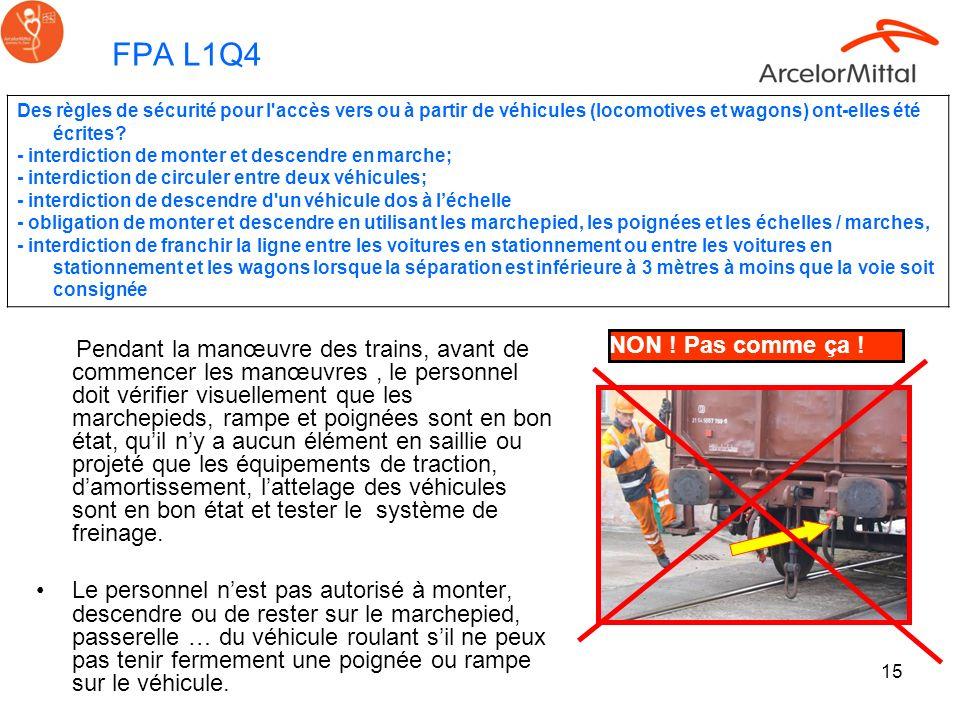 15 FPA L1Q4 Pendant la manœuvre des trains, avant de commencer les manœuvres, le personnel doit vérifier visuellement que les marchepieds, rampe et po