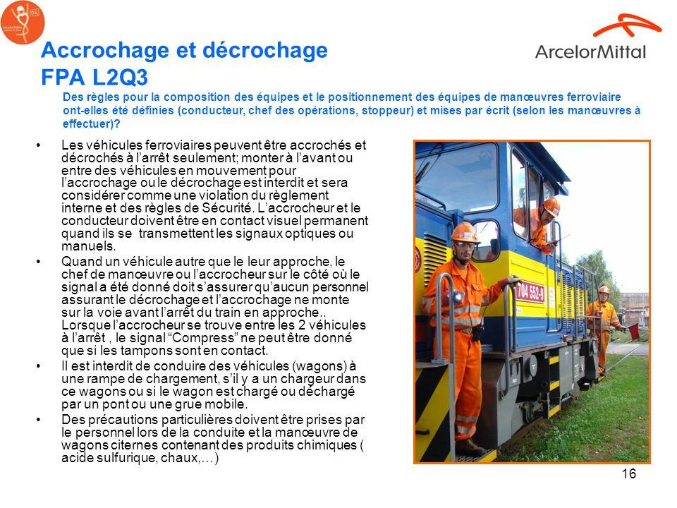 16 Accrochage et décrochage FPA L2Q3 Les véhicules ferroviaires peuvent être accrochés et décrochés à larrêt seulement; monter à lavant ou entre des v