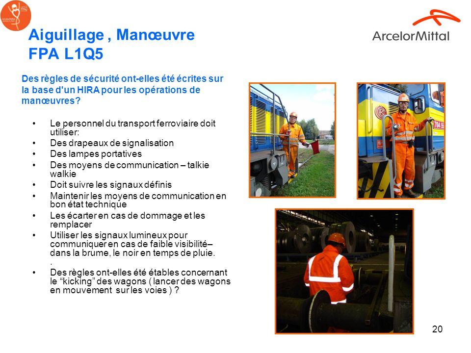 20 Aiguillage, Manœuvre FPA L1Q5 Le personnel du transport ferroviaire doit utiliser: Des drapeaux de signalisation Des lampes portatives Des moyens d