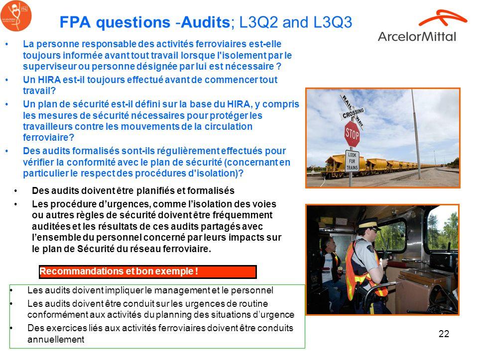 22 Des audits doivent être planifiés et formalisés Les procédure durgences, comme lisolation des voies ou autres règles de sécurité doivent être fréqu