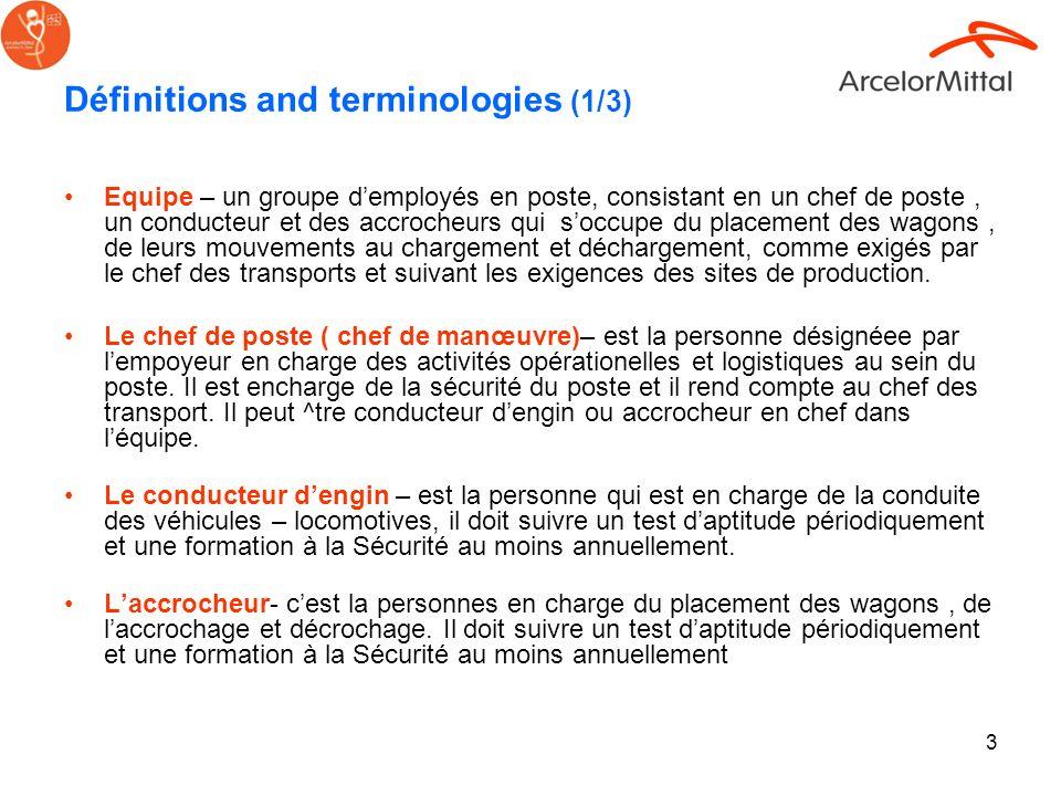 3 Définitions and terminologies (1/3) Equipe – un groupe demployés en poste, consistant en un chef de poste, un conducteur et des accrocheurs qui socc