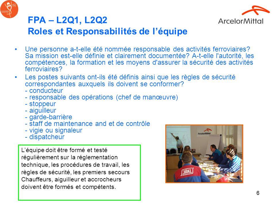 6 FPA – L2Q1, L2Q2 Roles et Responsabilités de léquipe Une personne a-t-elle été nommée responsable des activités ferroviaires? Sa mission est-elle dé