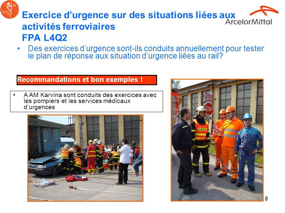 8 Exercice durgence sur des situations liées aux activités ferroviaires FPA L4Q2 Des exercices durgence sont-ils conduits annuellement pour tester le