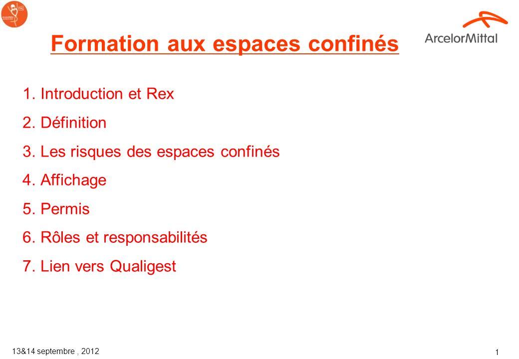Corporate Health and Safety ArcelorMittal 13&14 septembre 2012 Formation aux espaces confinés