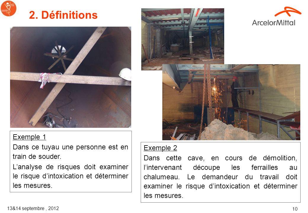 13&14 septembre, 2012 9 2. Définitions Un inventaire est réalisé par département et compte en moyenne une centaine despaces confinés Attention ! Ce ne