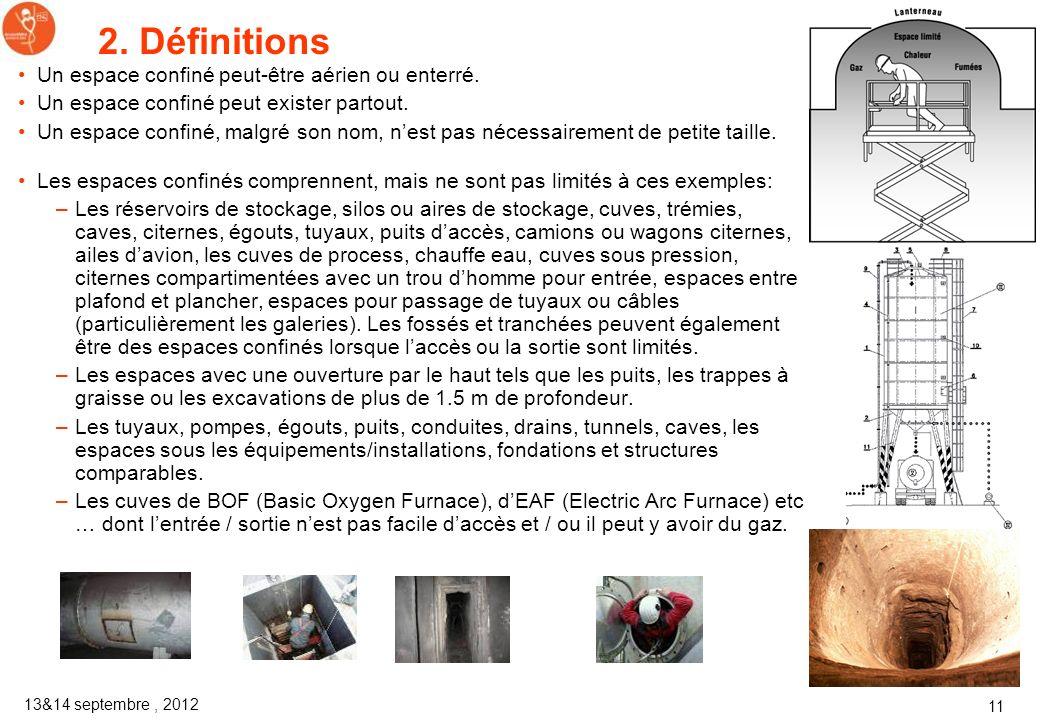 13&14 septembre, 2012 10 2. Définitions Exemple 1 Dans ce tuyau une personne est en train de souder. Lanalyse de risques doit examiner le risque dinto