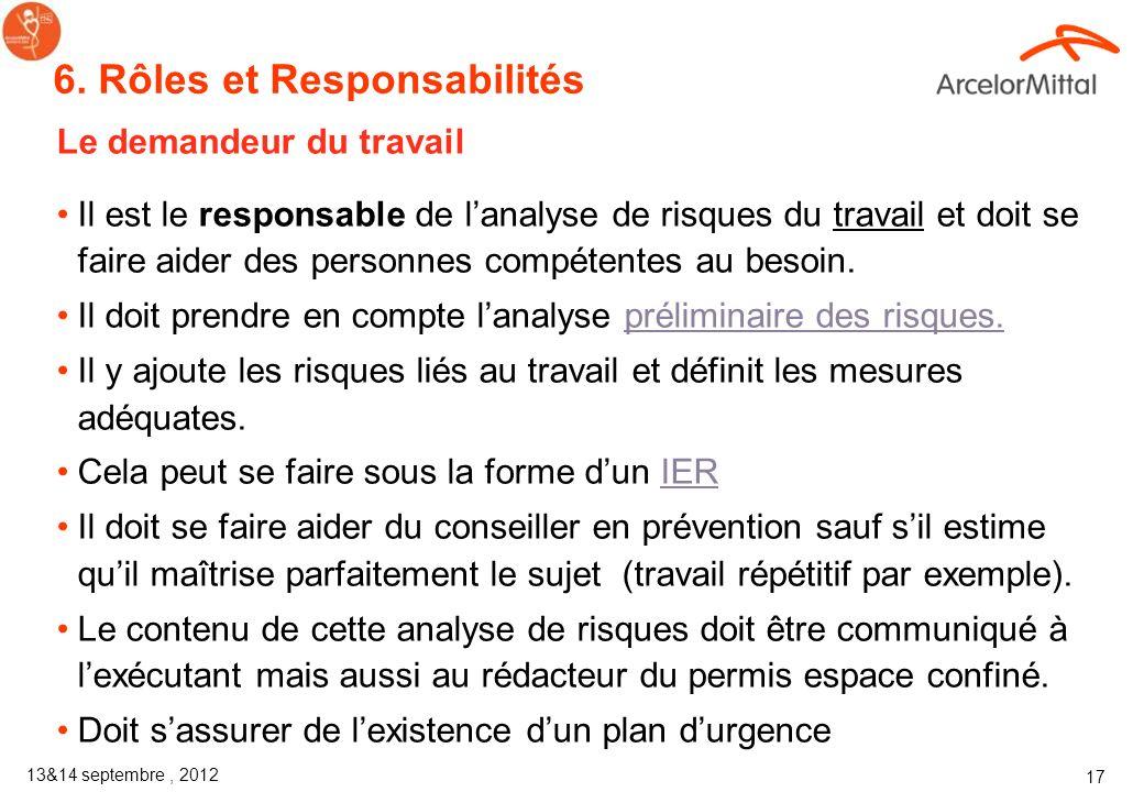 13&14 septembre, 2012 16 Les mesures de sécurité sont reprises au verso Trois étapes dans la prévention des accidents : Avant Pendant Après verso 5 Pe