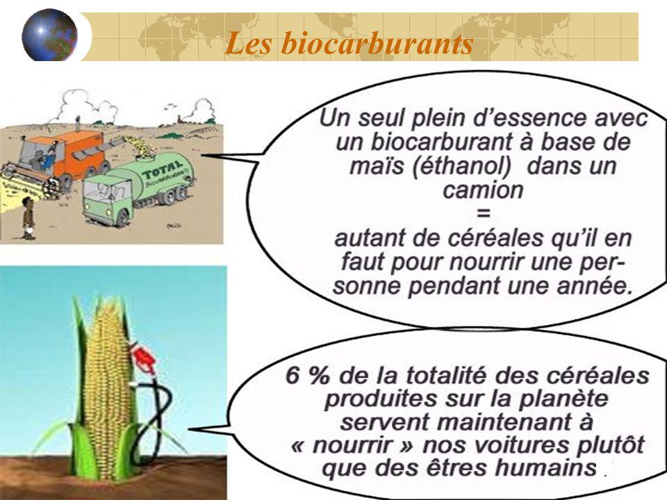 Les biocarburants.