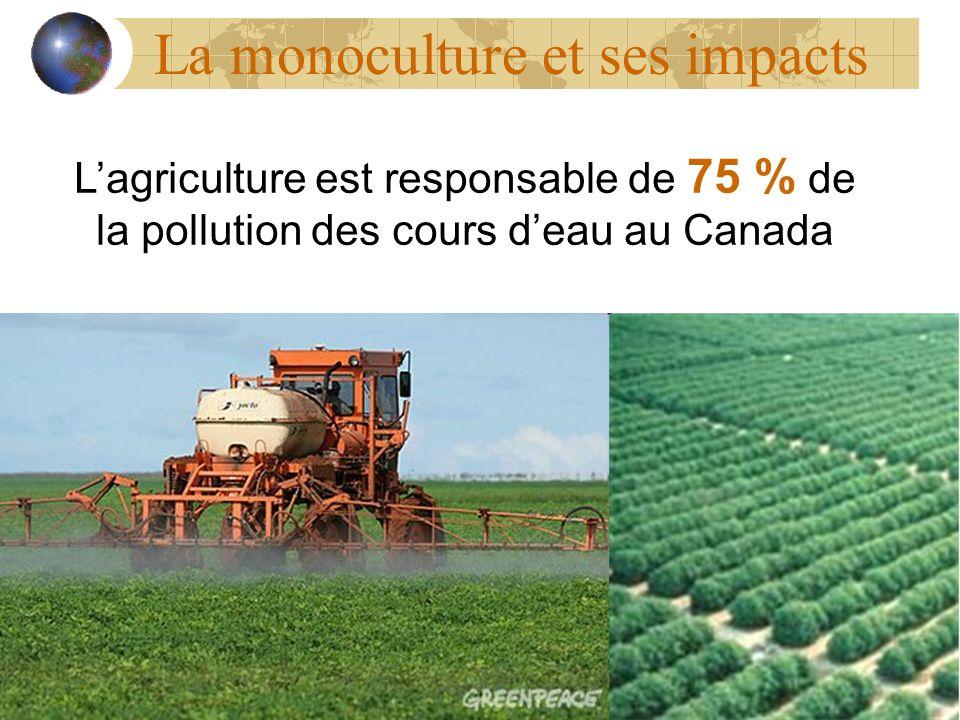 La monoculture et ses impacts Lagriculture est responsable de 75 % de la pollution des cours deau au Canada