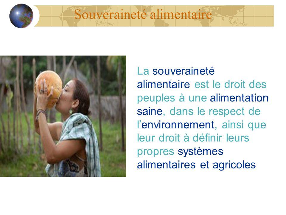 Souveraineté alimentaire La souveraineté alimentaire est le droit des peuples à une alimentation saine, dans le respect de lenvironnement, ainsi que l