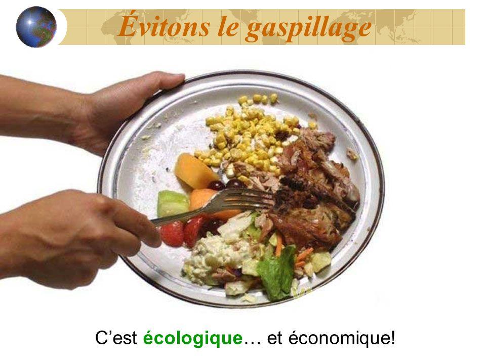 Évitons le gaspillage Cest écologique… et économique!
