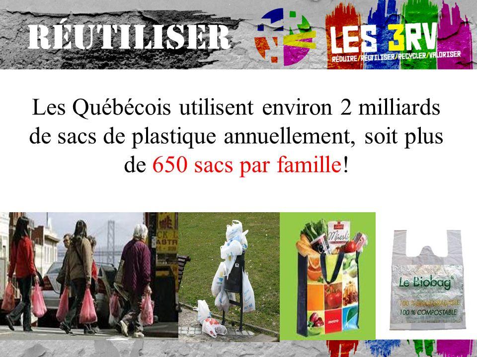 Les Québécois utilisent environ 2 milliards de sacs de plastique annuellement, soit plus de 650 sacs par famille.