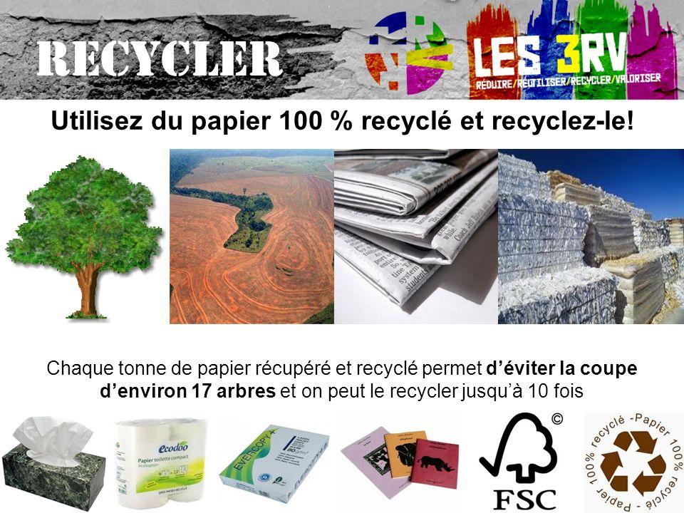Chaque tonne de papier récupéré et recyclé permet déviter la coupe denviron 17 arbres et on peut le recycler jusquà 10 fois Utilisez du papier 100 % recyclé et recyclez-le.