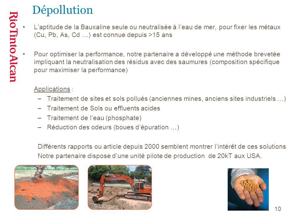 10 Dépollution Laptitude de la Bauxaline seule ou neutralisée à leau de mer, pour fixer les métaux (Cu, Pb, As, Cd …) est connue depuis >15 ans Pour o