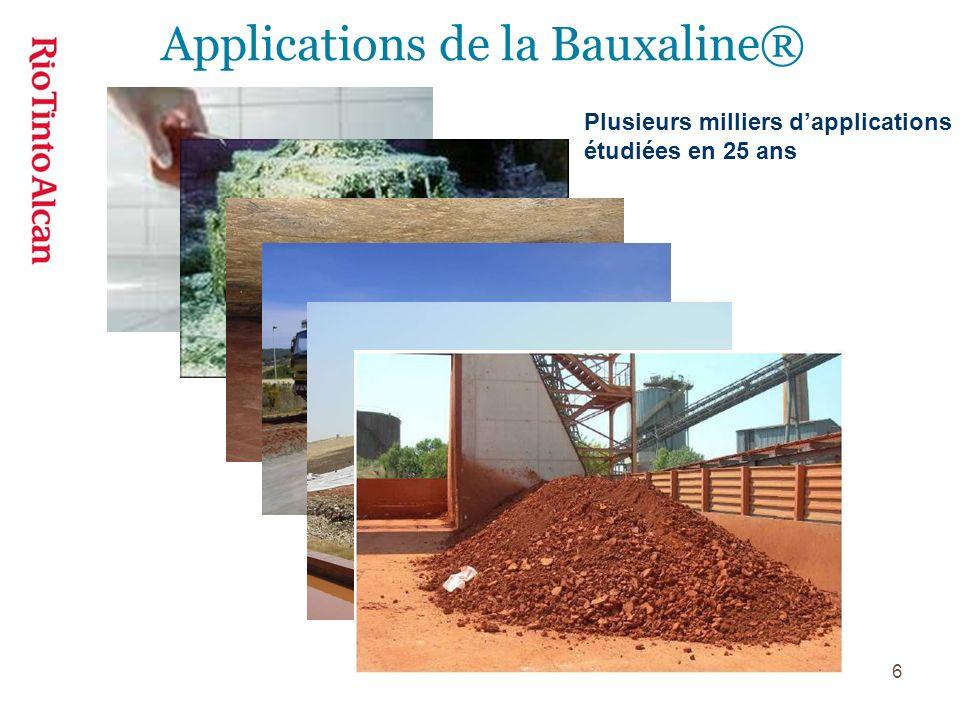 6 Plusieurs milliers dapplications étudiées en 25 ans Applications de la Bauxaline®