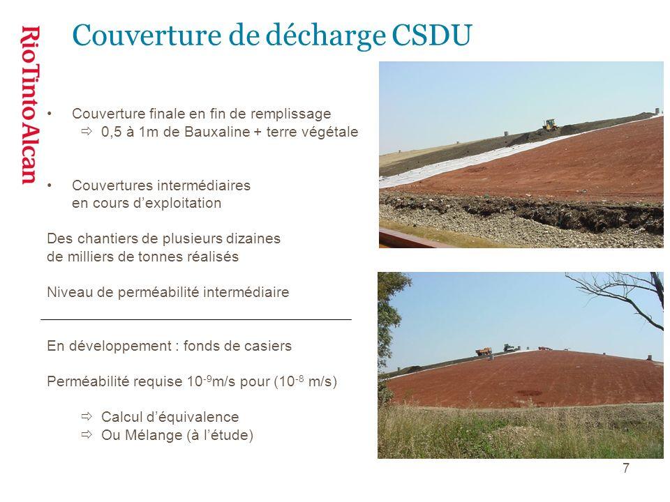 7 Couverture de décharge CSDU Couverture finale en fin de remplissage 0,5 à 1m de Bauxaline + terre végétale Couvertures intermédiaires en cours dexpl