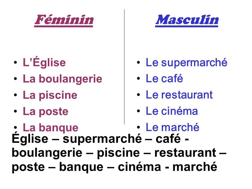 Féminin LÉglise La boulangerie La piscine La poste La banque Masculin Le supermarché Le café Le restaurant Le cinéma Le marché Église – supermarché –