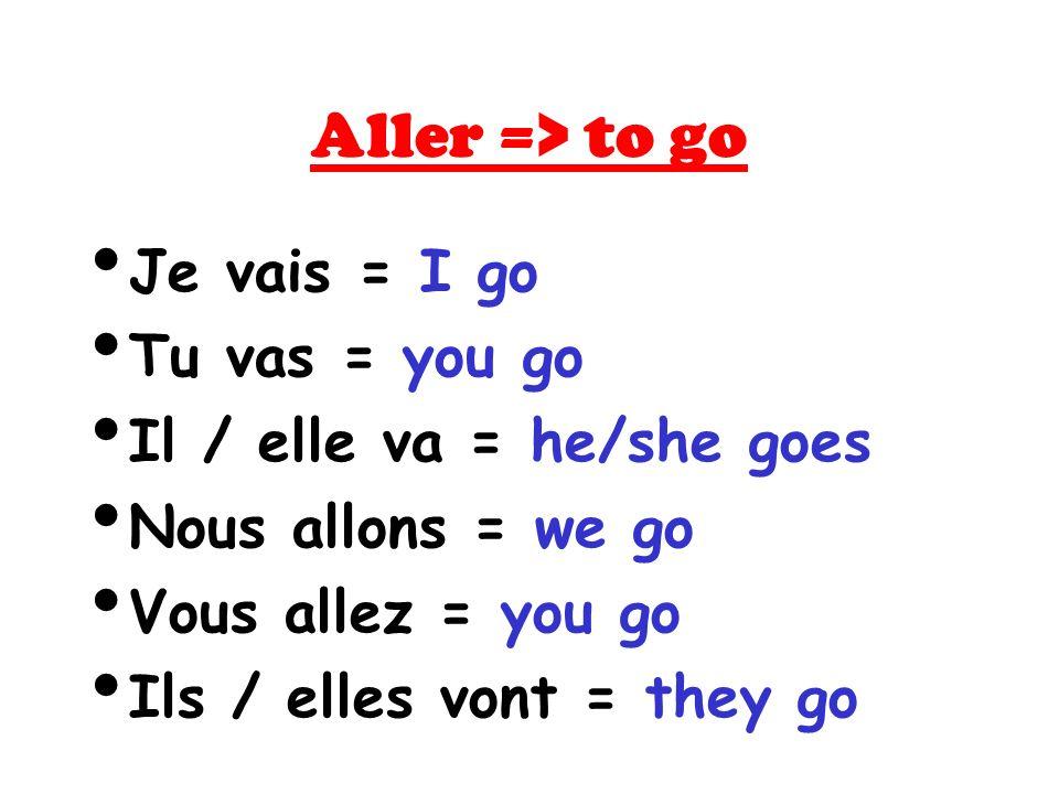 Aller => to go Je vais = I go Tu vas = you go Il / elle va = he/she goes Nous allons = we go Vous allez = you go Ils / elles vont = they go