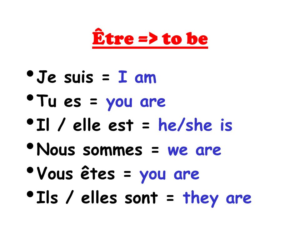 Être => to be Je suis = I am Tu es = you are Il / elle est = he/she is Nous sommes = we are Vous êtes = you are Ils / elles sont = they are
