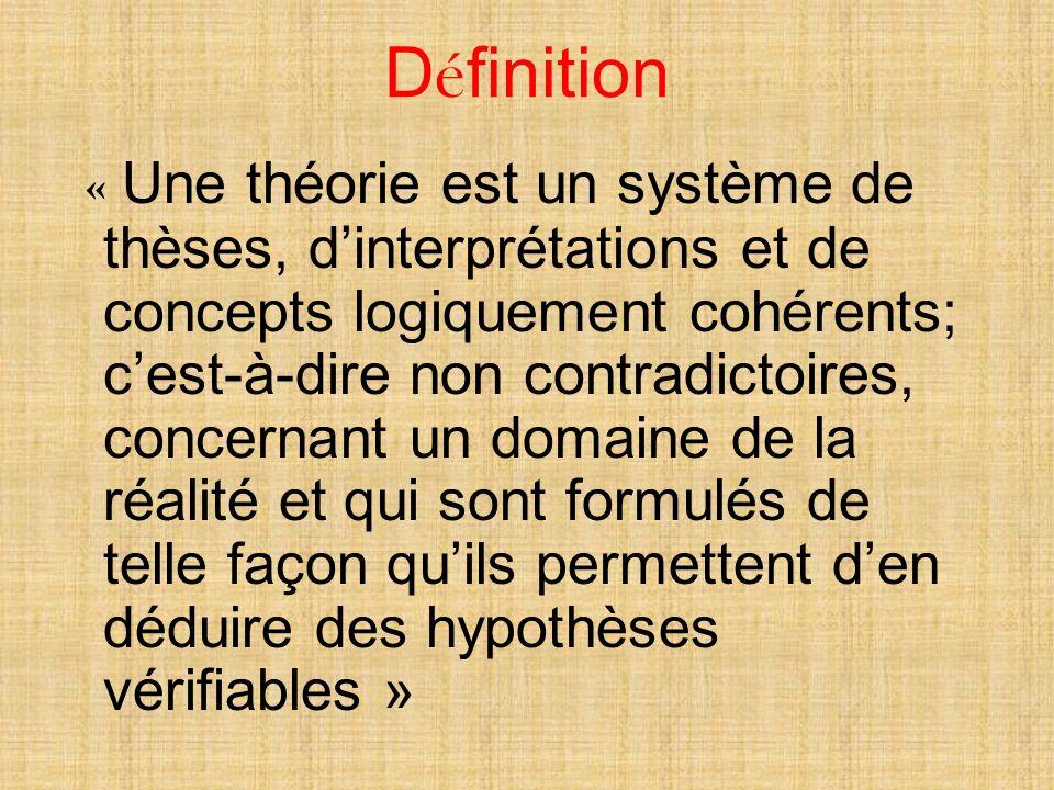 D é finition « Une théorie est un système de thèses, dinterprétations et de concepts logiquement cohérents; cest-à-dire non contradictoires, concernant un domaine de la réalité et qui sont formulés de telle façon quils permettent den déduire des hypothèses vérifiables »