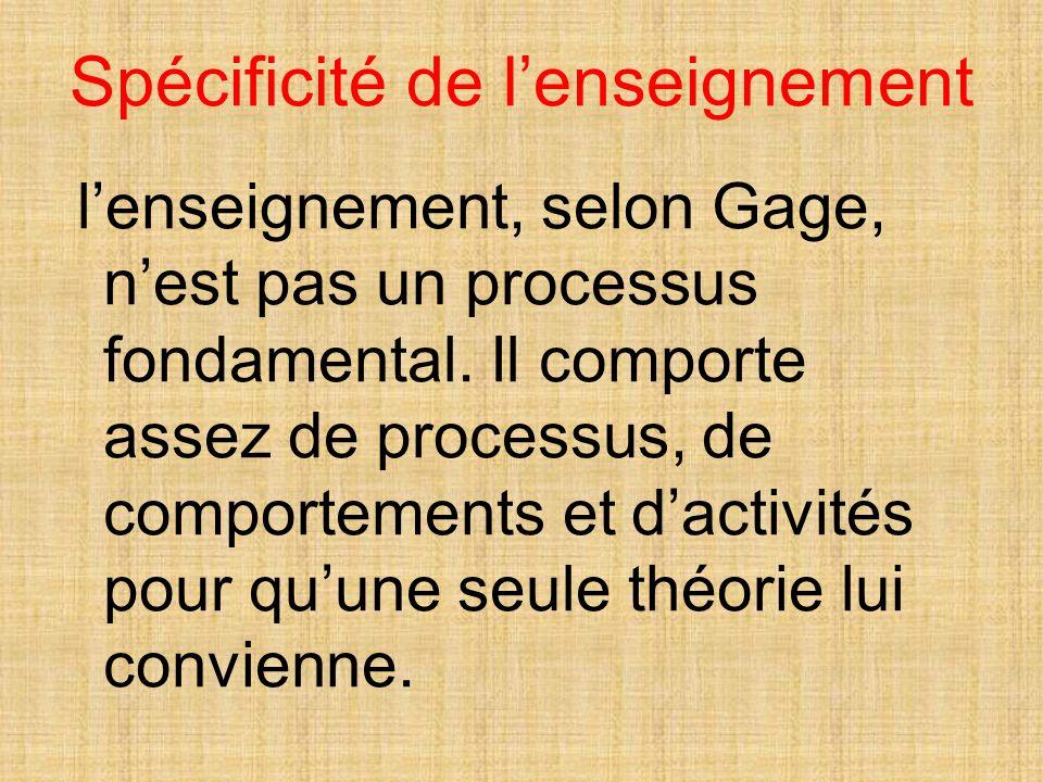 Spécificité de lenseignement lenseignement, selon Gage, nest pas un processus fondamental.