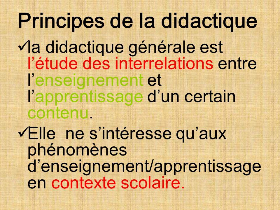 Principes de la didactique la didactique générale est létude des interrelations entre lenseignement et lapprentissage dun certain contenu.