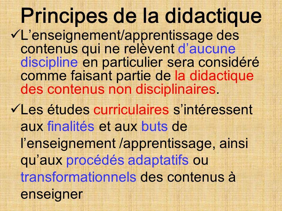 Principes de la didactique Lenseignement/apprentissage des contenus qui ne relèvent daucune discipline en particulier sera considéré comme faisant partie de la didactique des contenus non disciplinaires.