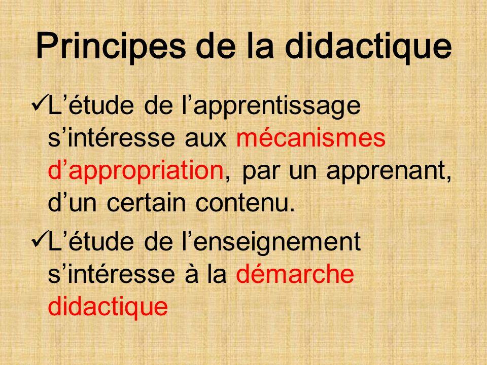 Principes de la didactique Létude de lapprentissage sintéresse aux mécanismes dappropriation, par un apprenant, dun certain contenu.