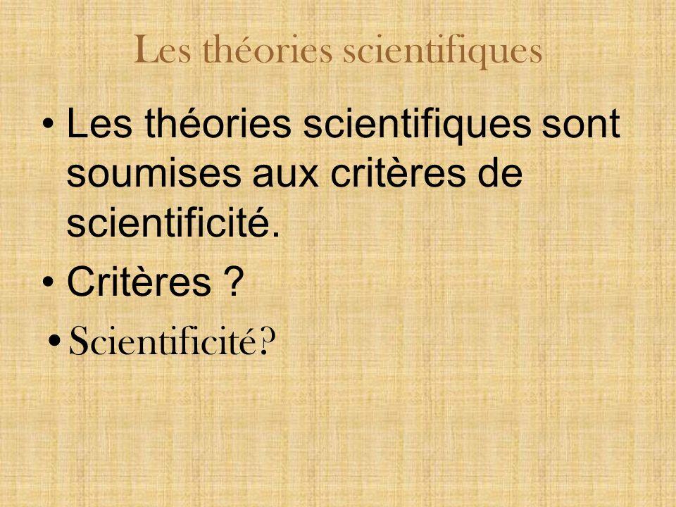 Les théories scientifiques sont soumises aux critères de scientificité.