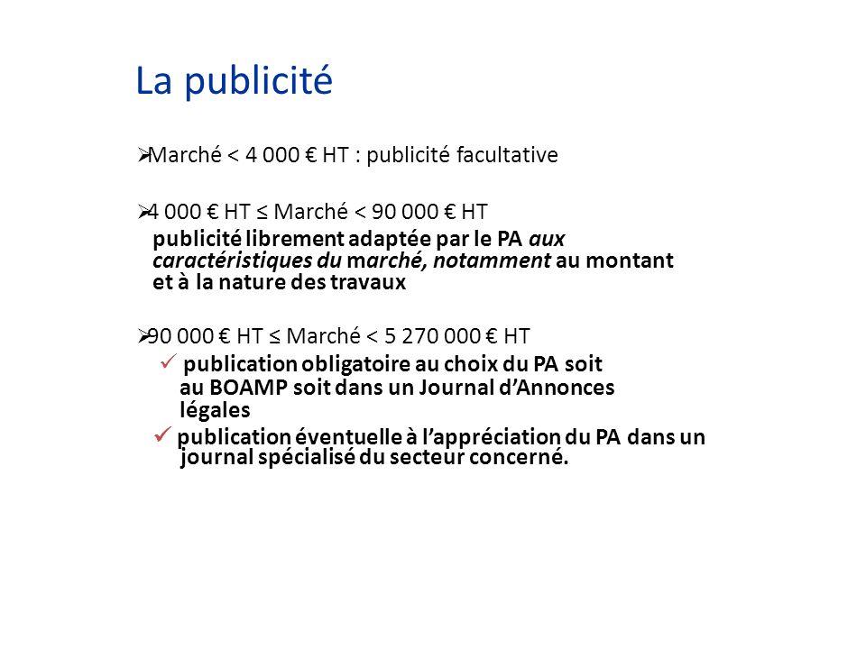 La publicité Marché < 4 000 HT : publicité facultative 4 000 HT Marché < 90 000 HT publicité librement adaptée par le PA aux caractéristiques du march