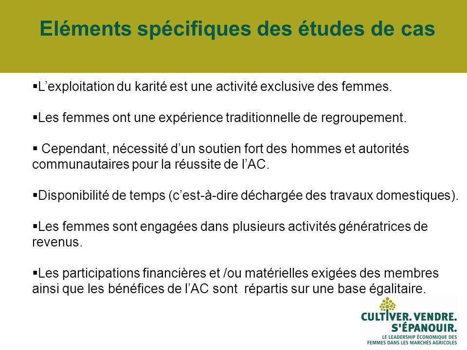 Eléments spécifiques des études de cas Lexploitation du karité est une activité exclusive des femmes.