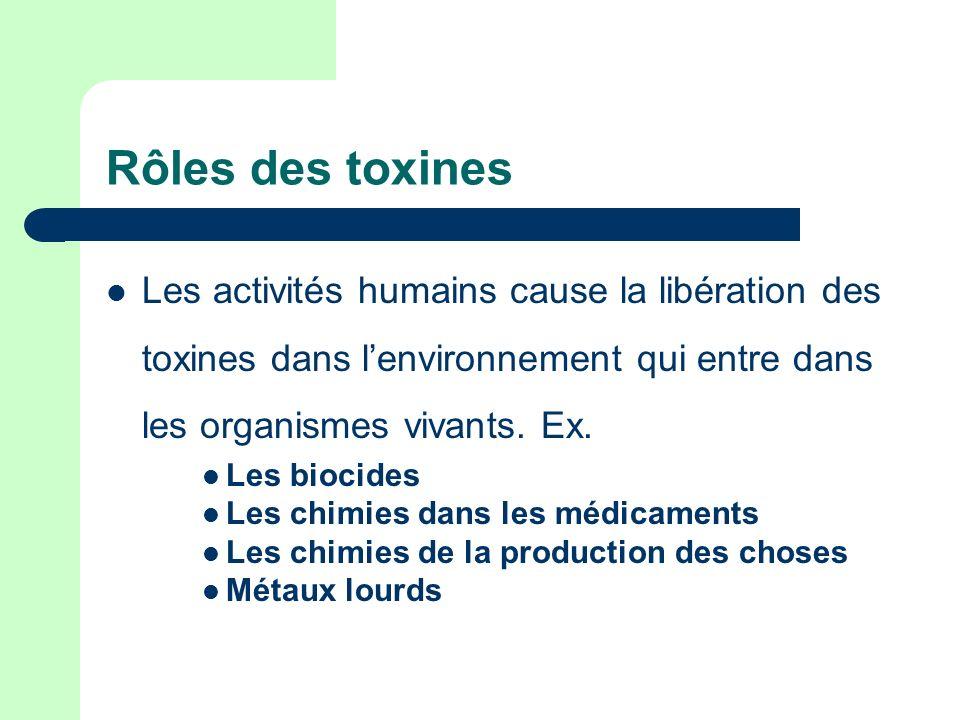 Rôles des toxines Les activités humains cause la libération des toxines dans lenvironnement qui entre dans les organismes vivants. Ex. Les biocides Le