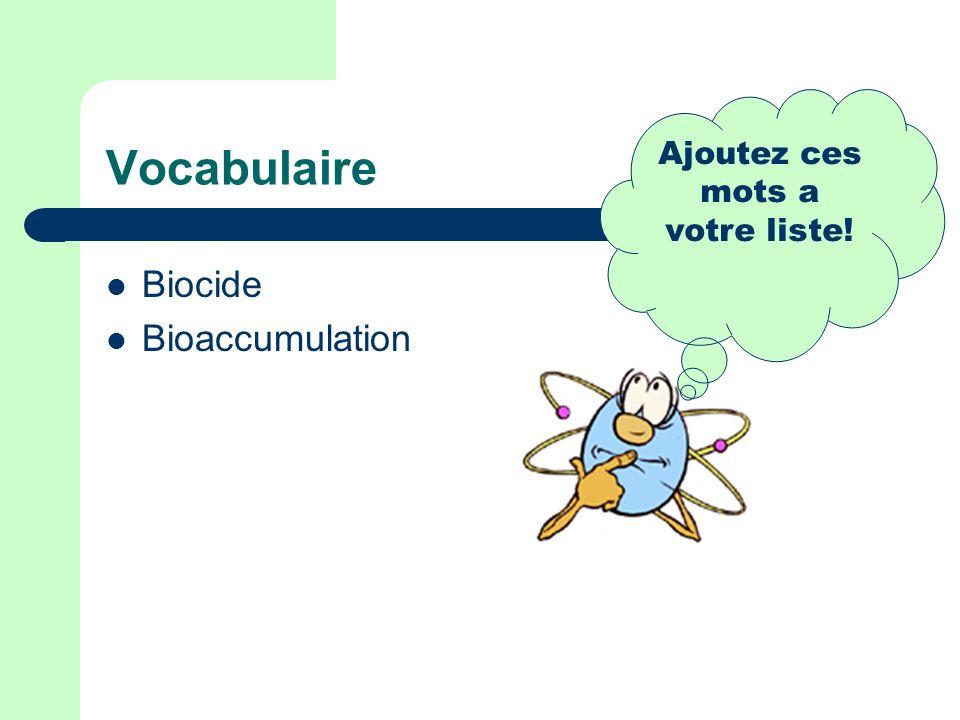 Vocabulaire Biocide Bioaccumulation Ajoutez ces mots a votre liste!