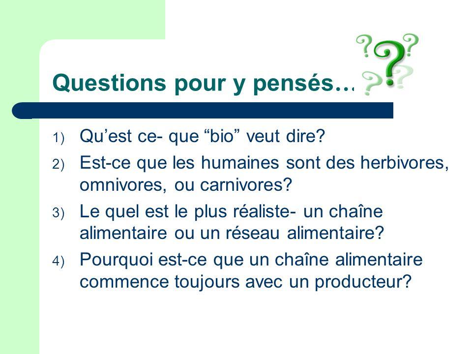 Questions pour y pensés … 1) Quest ce- que bio veut dire? 2) Est-ce que les humaines sont des herbivores, omnivores, ou carnivores? 3) Le quel est le