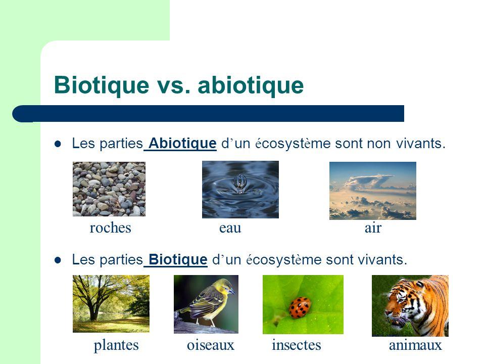 Biotique vs. abiotique Les parties Abiotique d un é cosyst è me sont non vivants. Les parties Biotique d un é cosyst è me sont vivants. rochesaireau a