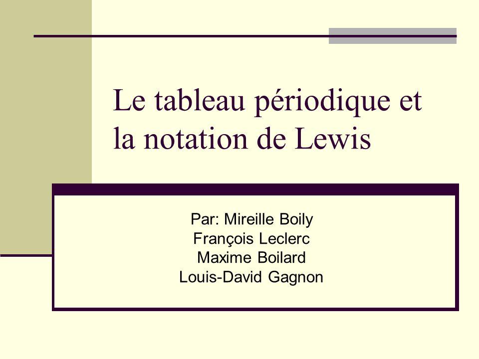 Le tableau périodique et la notation de Lewis Par: Mireille Boily François Leclerc Maxime Boilard Louis-David Gagnon