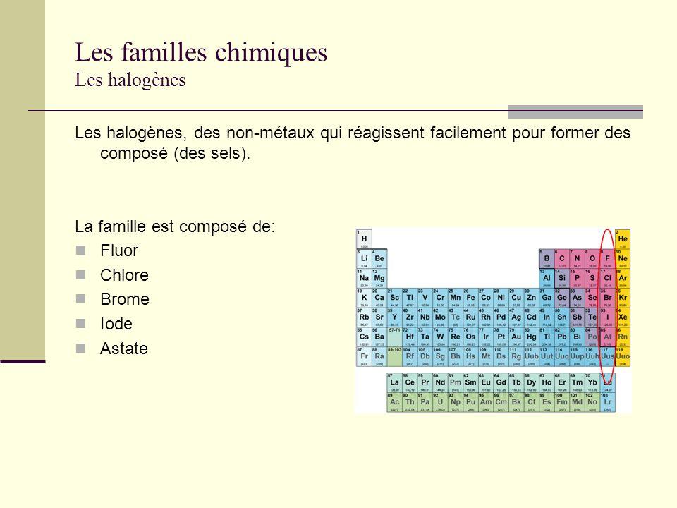 Les familles chimiques Les halogènes Les halogènes, des non-métaux qui réagissent facilement pour former des composé (des sels). La famille est compos