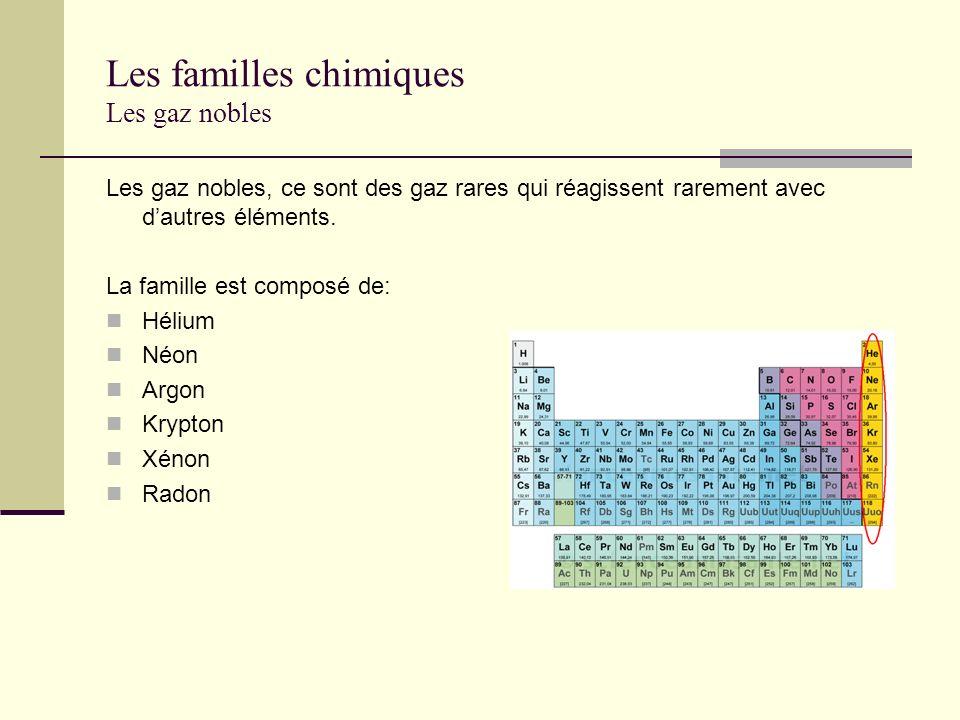 Les familles chimiques Les gaz nobles Les gaz nobles, ce sont des gaz rares qui réagissent rarement avec dautres éléments. La famille est composé de: