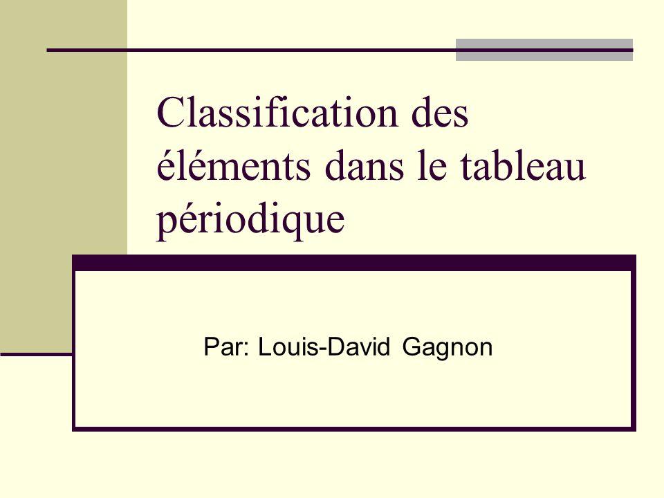 Classification Numéro atomique: Les éléments sont placés en ordre croissant de numéro atomique.